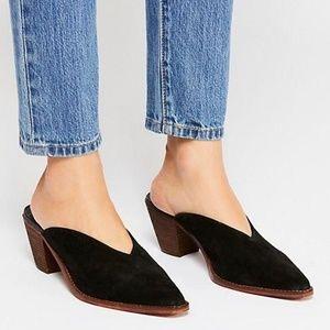 NWOT Free People Black Suede Anya Mule Slide Heel